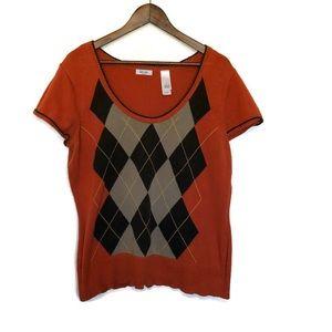 Liz & Co orange and brown argyle sweater 1X